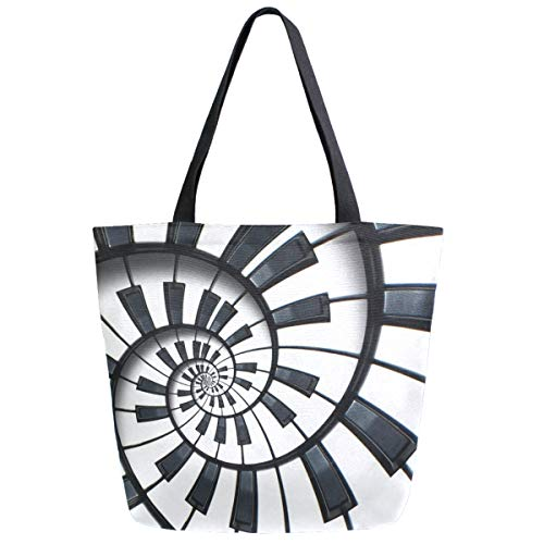 ZzWwR 3d Chic Music Piano Keyboard Spiral Pattern Extra Large Canvas Beach Travel Reusable Grocery Shopping Tote Bag Market Portable Storage HandBags
