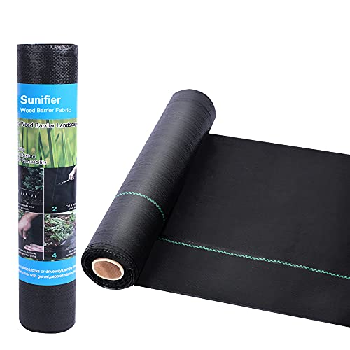 Weed Barrier Landscape Fabric Heavy Duty,Garden Fabric Weed Barrier,Black Mulch for Landscaping, Weed Blocker Fabric Garden Bed Cover Garden Supplies (1.3ft x 50ft)