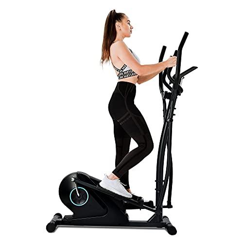 Gona Bicicleta elíptica con pantalla LCD y soporte, entrenador elíptico portátil para ejercicios en casa con 8 niveles de resistencia (negro)