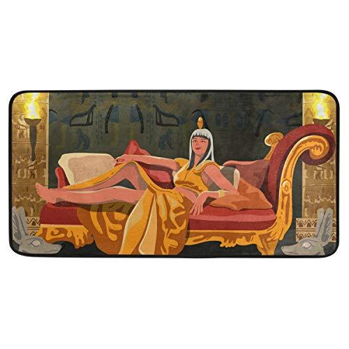 FANTAZIO Teppich Kleopatra Ägypten Pharao Teppich rutschfeste Bodenmatte Fußmatten für Terrasse oder Familienzimmer, 99,1 x 50,8 cm