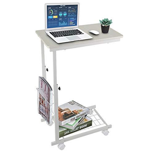 Greensen Sofa Beistelltisch Höhenverstellbar Laptoptisch mit Rollen Schreibtisch Multifunktionaler Computertisch Weiß Frühstückstisch Sofatisch Snack Tisch Pflegetisch Bettisch für Home, Office