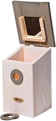 dobar 22518e Nistkasten für Vögel, aus Holz (Kiefer, Massivholz), für Garten, Balkon, Wand, 3 variable Einfluglöcher, mit Beobachtungsmöglichkeit, Farbe: Weiߟ - Nisthilfe Vogelhaus