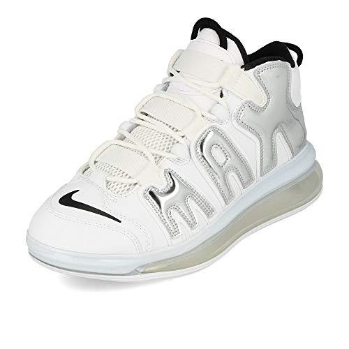 Nike Herren Air More Uptempo 720 Qs 1 Basketballschuhe, Mehrfarbig (White/Chrome/Black 100), 45 EU