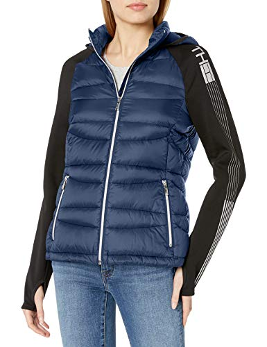 Tommy Hilfiger Womens Short Packable Down and Knit Logo Jacket, Navy, S