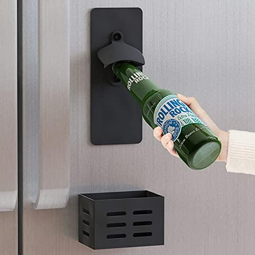 Apsan Magnetic Bottle Opener for Fridge, Bottle Opener Wall Mounted With Cap Catcher, Refrigerator, Corona Beer Gifts for Men, Funny Black