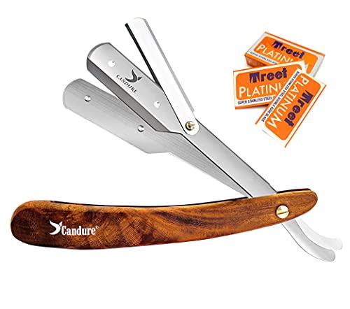 Candure Navaja Afeitar Barbero Profesional Recta para Afeitado Tradicional Afeitar Afeitado Mango de madera Plegable de Barbero con 10 Cuchillas