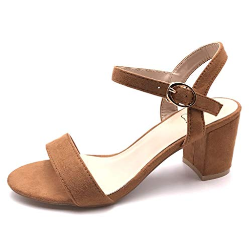 Angkorly - Damen Schuhe Sandalen Pumpe - kleine Fersen - Plateauschuhe - Offen - Einfach Basic - Basic - String Tanga Blockabsatz high Heel 6.5 cm - Camel FC-33 T 41