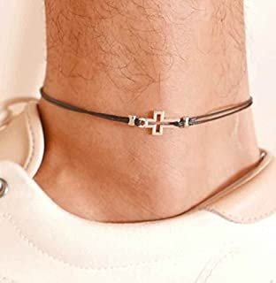 Handmade Black Anklet For Men Set With Silver Plated Cross Pendant By Galis Jewelry - Ankle Bracelet For Men - Cross Anklet For Men