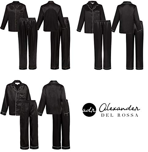 Alexander Del Rossa Women's Button Down Satin Pajama Set with Sleep Mask, Long Silky Pjs, Medium Black with Cream Piping (A0750BKPMD)