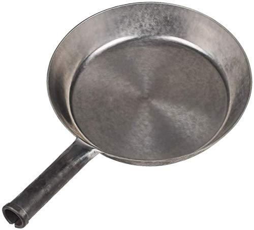 UYZ 28cm Sauce Braten Eisen Wok Kohlenstoffstahl Flacher Boden, gewürztes Steak Rühren Bratpfanne Schwere Kanton Hand gehämmert Topf zum Kochen