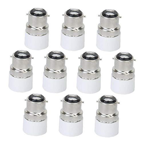hong Wu 10Pcs Glühlampe Adapter B22 zu E14 Schrauben-Birnen-Lampen-Adapter-Halter-Konverter-Verbindungsstück B22 zu E14 Licht Adapter Sockel Base Converter Hauptbeleuchtung Zubehör