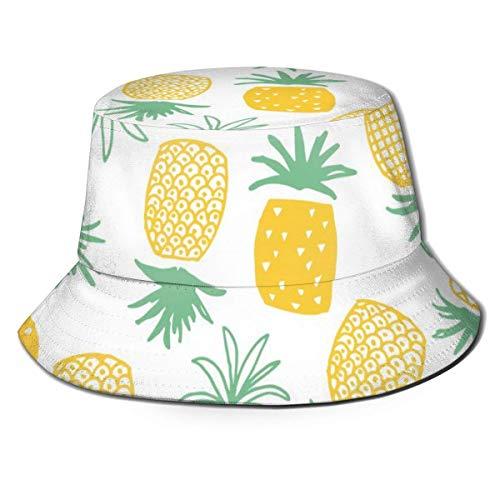 Lawenp Fisherman Bucket Caps Tailandia Frutas Estampado de piña Unisex Plegable Reversible Verano Viajes Playa Sombrero para el Sol Protección ala Ancha Transpirable para Pesca Senderismo Golf Negro
