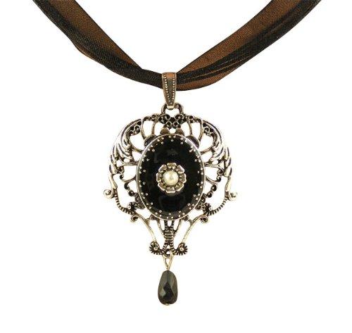 Trachtenschmuck Dirndl Kette - ornamental Antikschmuck Replikat Jugendstil Anhänger mit Perle - auch Gothic & Halloween
