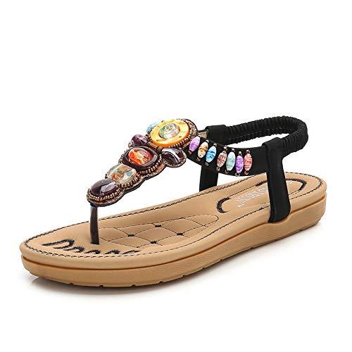 LXYYBFBD Sandalen Voor Vrouwen, Zwarte Zomer Boheemse Women'S Sandalen Ronde Hoofd Kleur Diamond Thong Sandalen Flat Bottom Beach Holiday Dames Schoenen Comfortabele Antislip