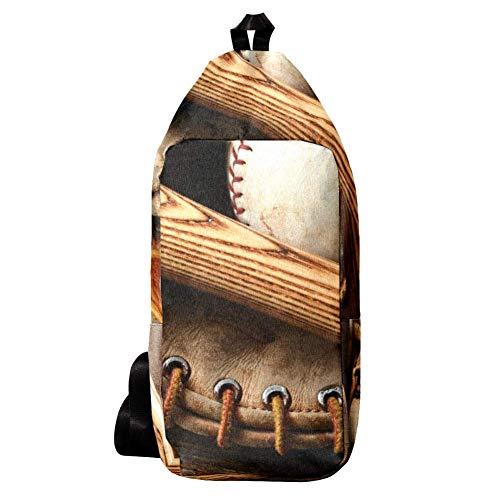 EZIOLY Old Baseballschläger und Handschuh, altes Holz, Schulterrucksack, Umhängetasche, Reisetasche, Wandern, Tagesrucksack für Männer und Frauen
