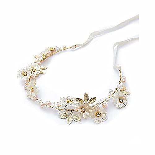 LATRAT - Corona di fiori per capelli, corona di fiori, margherita, gioiello per capelli da matrimonio dorata, con perle di cristallo con nastro accessorio, accessorio per capelli da matrimonio