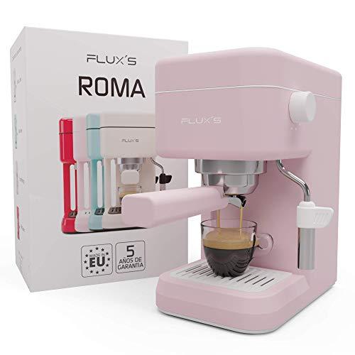 Flux's Roma – Cafetera Express con Espumador de Leche y Bomba Italiana de 20 Bares, Brazo Portafiltros con Doble Salida y Dos Filtros, para Espresso y Cappucino, Fabricada en Europa. (Rosa Flamingo)