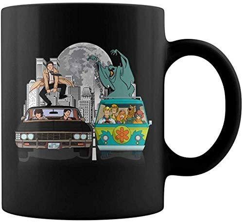 Supernatural y Scooby Doo On The Open Road Taza de café Taza de regalo Taza de café Taza de café Taza con asa, Taza de café reutilizable de cerámica aislada, Taza de viaje de café