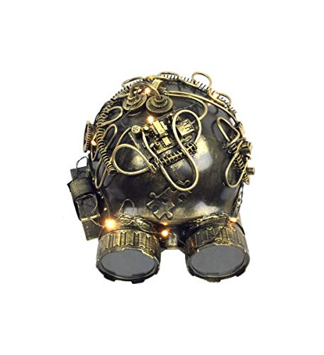 KBW Adult Unisex Steampunk Gold Helmet LED Mask with Goggles, Light Up Vintage Victorian Style Retro Punk Rustic Gothic Motorcycle Pilot Aviator Eyewear Headgear Costume Accessories