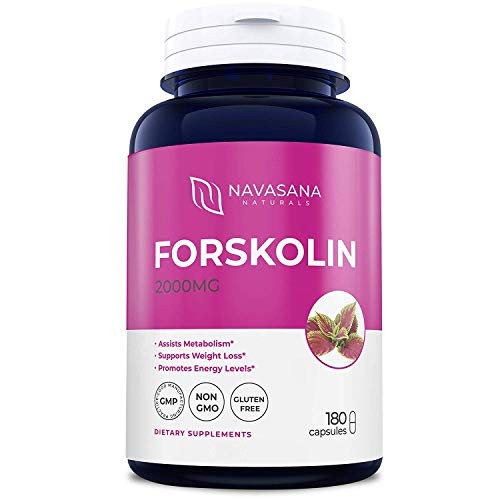 Premium Forskolin Capsules for Weight Loss, Energy Boost, and More – Belly Buster Fat Burner - Super Strength, Non-GMO, and Gluten-Free – 2000 mg/Cap, 180 Capsules