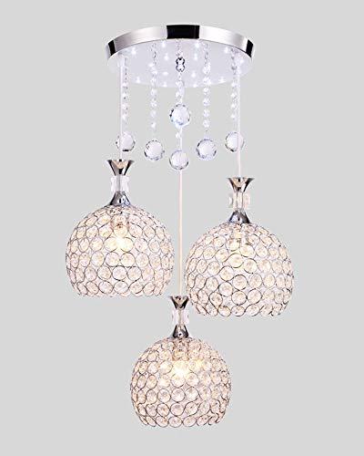 Pendelleuchte Kristall Mode 3-Flammige Kronleuchter Lampenschirm Kugelförmige Hängelampe Esstisch E27 Für Wohnzimmer Arbeitszimmer Küche Hängenden Lichter∣Höhe Verstellbar,Chrome