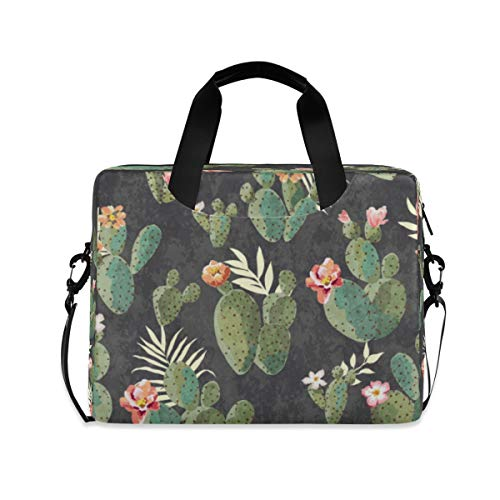 ALARGE Laptop Case Sleeve Floral Tropical Flower Cactus 15-16 inch Briefcase Travel Tote Messenger Notebook Computer Crossbody Bag with Strap Handle for Women Men