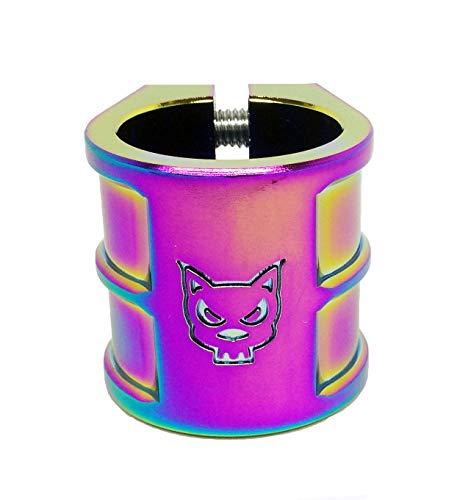 Team Dogz 35mm Tamaño Grande Doble Masa Escúter Abrazadera en Neochrome. Adecuado para HIC & ICS Compresión - Arcoiris