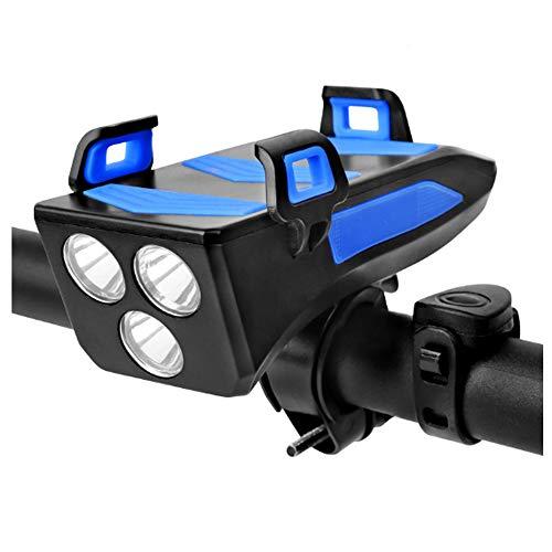 HFXZ2018 Multi-función de Linterna de la Bici, 4 en 1 USB de Carga Ligero de la Bicicleta con 130 dB Altavoz, resalte Grano de la lámpara a Prueba de Agua Luces de Bicicleta,Azul