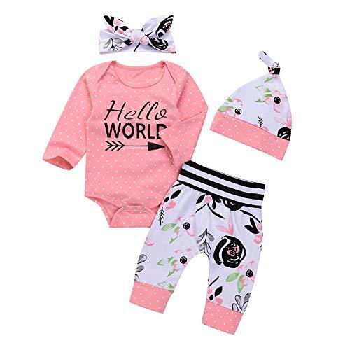 SCFEL Newborn Outfits Neonata Hello World Manica Lunga Pagliaccetto + Pantaloni Floreali + Fascia + Cappello 4 Pezzi Set di Vestiti (Rosa, 0-3 Mesi)