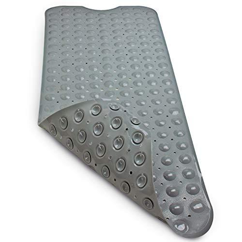 Sarenius Badewannenmatte 100 cm x 41 cm extralang – Antirutschmatte für Badewanne – Badewanneneinlage aus praktischem PVC. (grau)