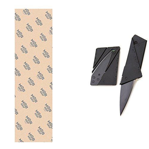 "Mob Clear Skateboard Grip Tape Sheet 9"" x 33"" with Griptape Cutter Knife"