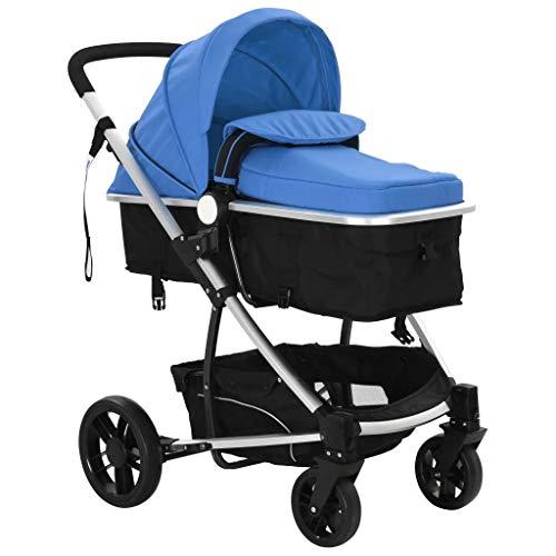 Kinderwagen / Buggy 2 in 1 aus Aluminium blau und schwarz, leicht, vielseitig und kompakt