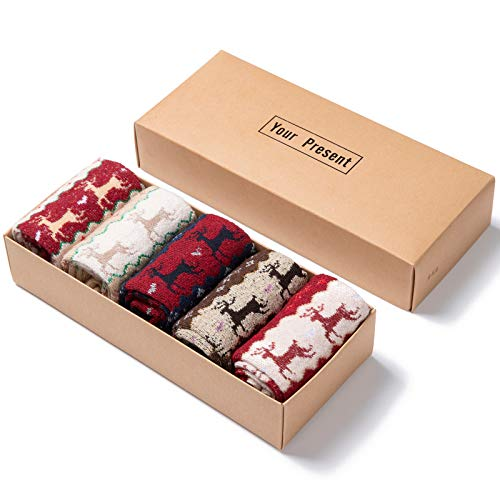 Diealles Shine Damen Winter Wollsocken, 5 Paare Frauen Socken Norweger Socken Damen, Hirsch