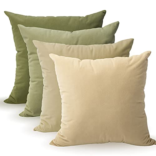 Tayis Green Throw Pillow Covers 18x18 Set of 4 Square Couch Pillows, Decorative Velvet Pillow Cases for Couch Sofa Living Room