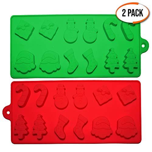 2er Pack Backformen für Weihnachten aus Silikon – Silikonformen mit 6 weihnachtlichen Formen – Backzubehör & Kuchenformen zum Backen von Kuchen, Cupcakes, Muffins, Keksen oder als Eiswürfel-Formen