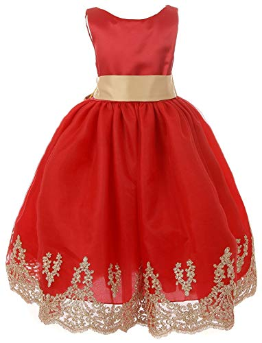 Little Girls Sleeveless Lace Embroider Party Holiday Dressy Flower Girl Dress Red 6 (C17B12)