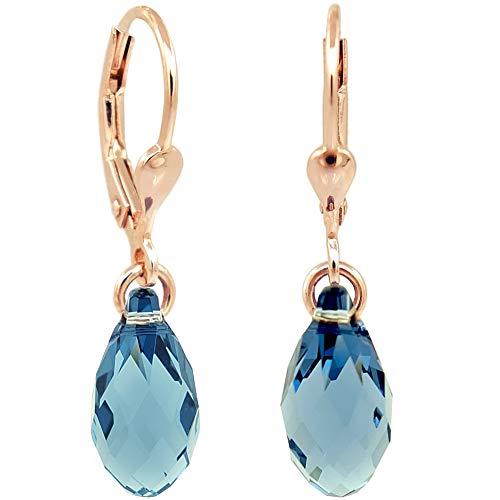 Ohrringe Rosegold Tropfen Swarovski® Kristalle 925 Sterling Silber Blau NOBEL SCHMUCK
