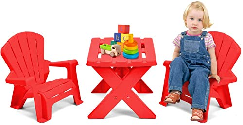 HONEY JOY 3 Piece Kids Table and Chair Set, 2 Adirondack Chairs and Table for Garden Yard, Indoor Outdoor Play Activity Craft Table Set for Toddler Children Baby Boy Girl(Red)