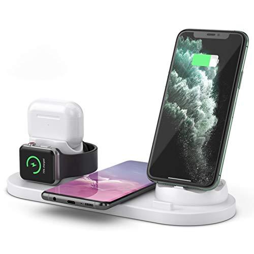 Cargador de teléfono Celular inalámbrico Boyuhii 6 en 1 10W Qi Touchstone Radio Soporte de Cargador Atcye (Color : White)