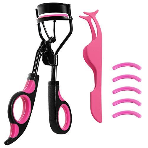 Eyelash Curler Kit, Premium Lash Curler for Perfect Lashes, Eye Lash Curler with 5 Eyelash Curler Replacement Pads and Eyelash Extension Tweezers, Universal Eye Lashes Curlers