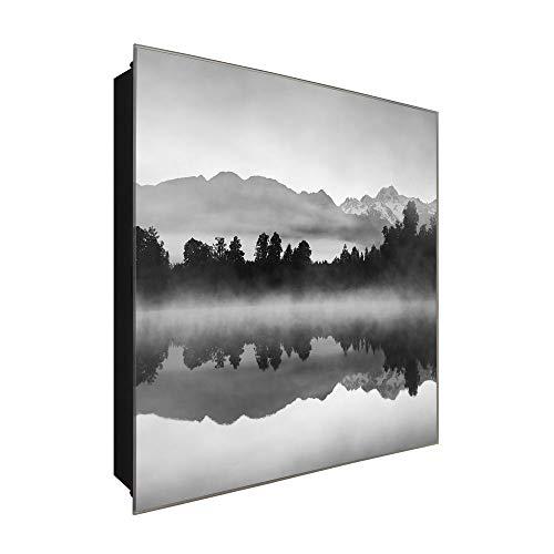 DekoGlas Schlüsselkasten \'Nebel Schwarz&Weiß\' 30x30 Glas, inkl. Haken Schlüsselbrett Schlüssel-Box Design Aufbewahrung