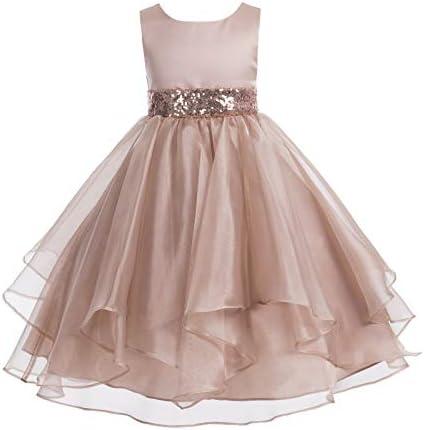 ekidsbridal Asymmetric Ruffled Organza Sequin Flower Girl Dress Toddler Girl Dresses 012S 10 product image