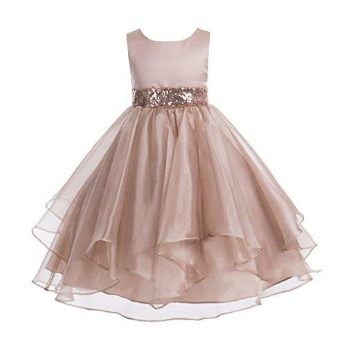 ekidsbridal Asymmetric Ruffled Organza Sequin Flower Girl Dress Toddler Girl Dresses 012S 4 Rose Gold