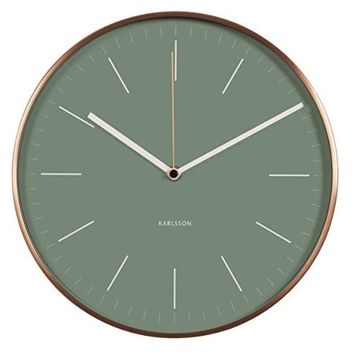 KARLSSON Wandklok Minimal foilaGeGreen m. Frame koperkleuren, metaal, groen, 5x27,5 x 27,5 cm