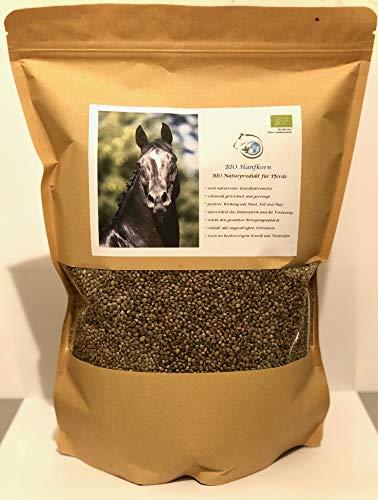 Gesundheitpur für Pferde Bio Hanfkorn 2kg, gereinigte und schonend getrocknete Hanfsamen in Bester Qualität, DE-ÖKO-007