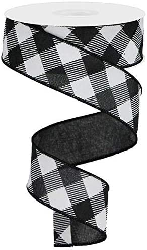 4 White Black Glitter Check Wired Ribbon By the Roll 4 x 10 YARD ROLL