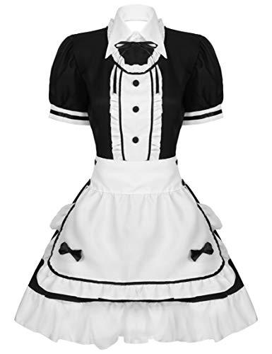 Aislor Disfraz Criada Francesa para Mujeres Traje de Mucama Vestido de Criada A-Line Traje de Cosplay de Camarera Dirndl Mujer Sexy Maid Costume 5 Pcs Negro M