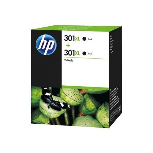 HP 301XL Cartuccia Originale Getto d'Inchiostro ad Alta Capacità, Confezione da 2 Cartucce, Nero