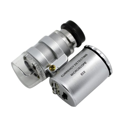 Forrader 9882Mini 60X LED Microscopio moneda Detector de bolsillo compacto portátil lupa lupa de cristal lente ojo piezas con luz LED y libre Negro Funda de piel