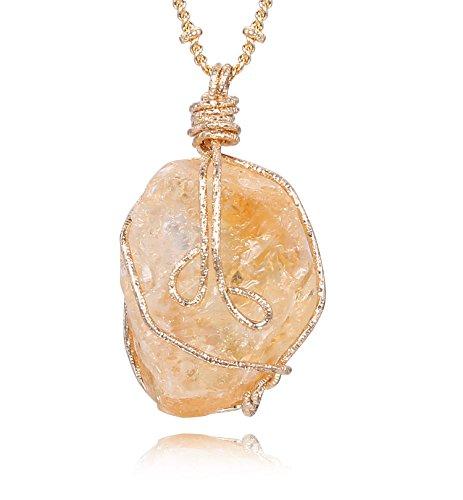 JDGEMSTONE Citrine Irregular Crystal Gemstone Handmade Gold Pendant...